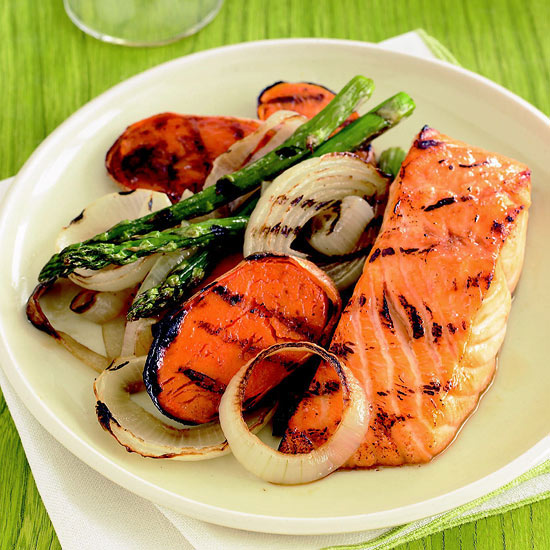 Maple glazed salmon with grilled vegetables family circle - Make perfect grilled vegetables ...