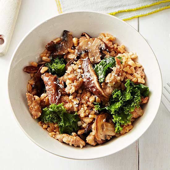 Oven Farro Risotto with Sausage, Mushrooms and Kale ...