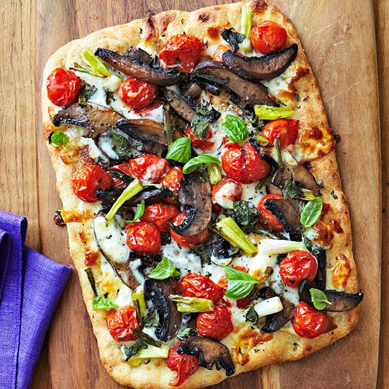 Flatbread Pizza with Roasted Cherry Tomatoes & Portobello ...