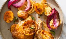 chicken with lemon and potatoes dish
