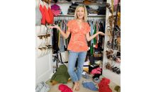 woman in messy closet