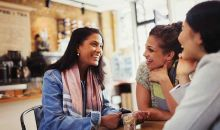 friends talking at coffee shop