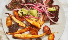 steak with roasted potatoes and parsnips