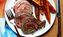 Stuffed Flank Steak with sweet potato fries