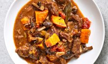 sweet potato-beef stew in bowl