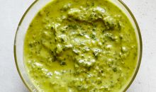birds-eye view of chimichurri sauce
