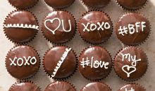 chocolate ganache cupcakes wth writing