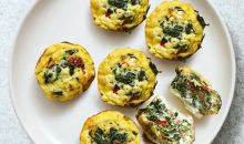 egg cups with vegetables and feta cheese