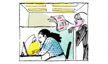 illustration of a woman ignoring her coworker in the office