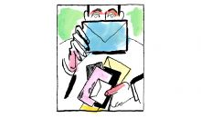 illustration of man holding snail mail
