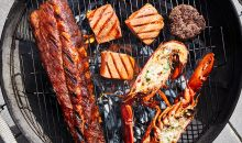 grilled ribs, salmon, lobster, and burgers