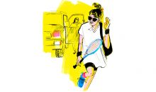 illustration of female tennis player holding racket