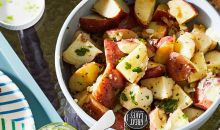 warm german potato salad in bowl