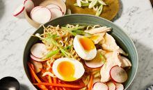 Chicken Ramen in bowl with eggs and vegetables