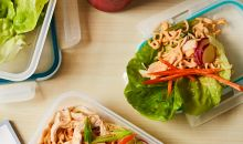 Spicy Chicken Lettuce Wraps in to go containers