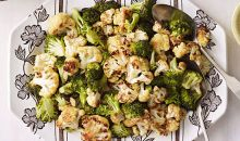 Roasted Cauliflower and Broccoli with Spicy Yogurt Sauce
