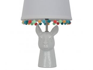 Llama Figural Table Lamp with Pom Pom Trim Shade
