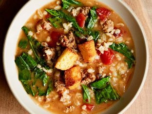 Sausage and Collard Soup with Barley in bowl