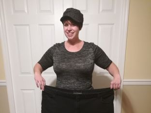 Debby Michael holding pants