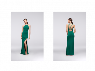 David's Bridal emerald prom dress