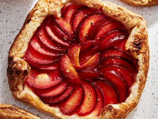 baked tart with plums