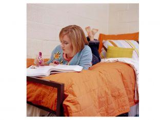 Student studying in dorm