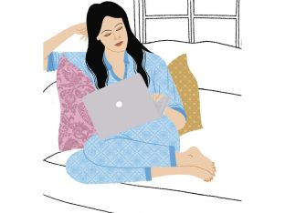 Freelancer illustration of woman with laptop