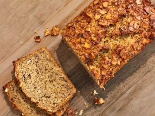 banana-coconut quick bread on table