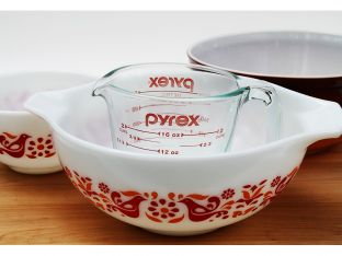 vintage pyrex orange and red