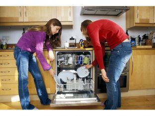 teens loading dishwasher
