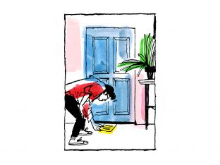 illustration of woman sliding letter under her child's bedroom door