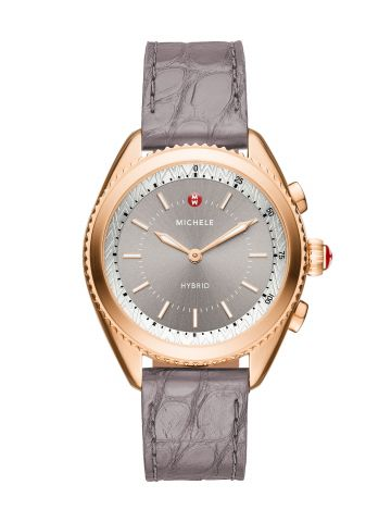 Rose Gold-Plated Grey Dial Grey Alligator And Blush Silicone Hybrid Smartwatch