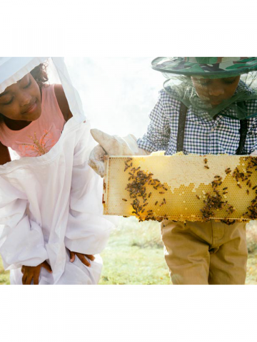 Children making honey
