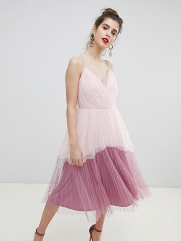 Asos pink tulle prom dress