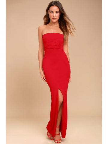 Lulus red strapless prom dress