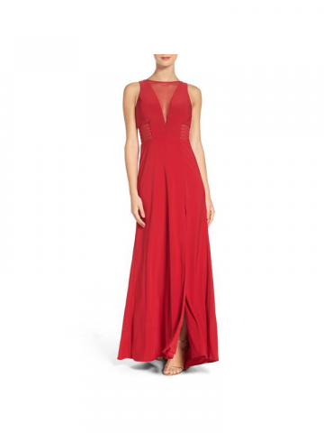 Morgan & Co red illusion gown
