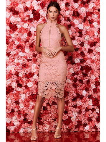 Lulus pink lace prom dress