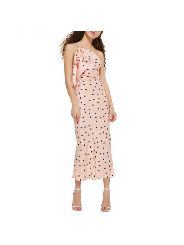 Topshop pink polka dot prom gown