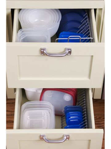 tupperware bowls in kitchen drawers