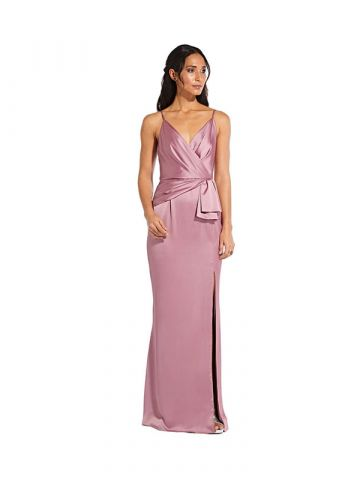 Adrianna Papell Satin Mermaid Gown with Draped Bow Detail