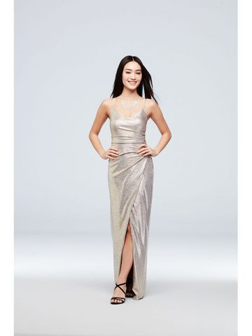 Betsy and Adam Ruched Metallic Knit Sheath Dress with Slit