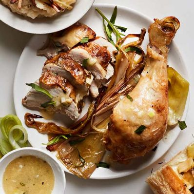 Roasted Chicken with Leek Vinaigrette