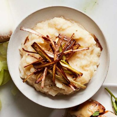Mashed Celery Root and Frizzled Leeks