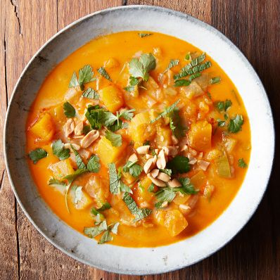 Red Curry, Butternut Squash and Leek Stew in bowl