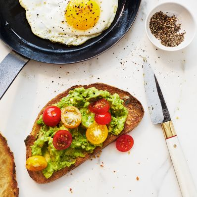 avocado toast breakfast egg knife