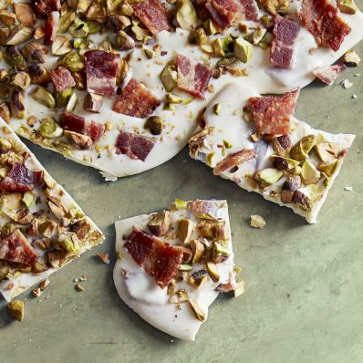 pistachio-bacon bark on green counter