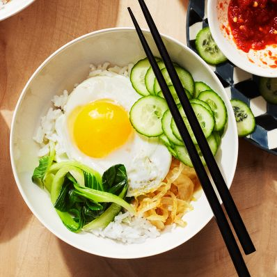 rice and veggie bowl chopsticks egg breakfast