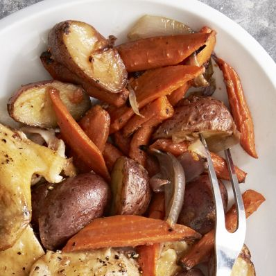 roasted carrots and potatoes with lemon zest