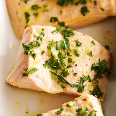 salmon topped with herbs