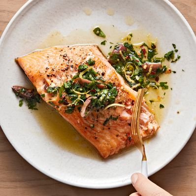 arctic char topped with chermoula sauce